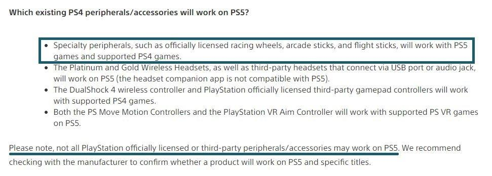 PS5 Racing wheel compatibility