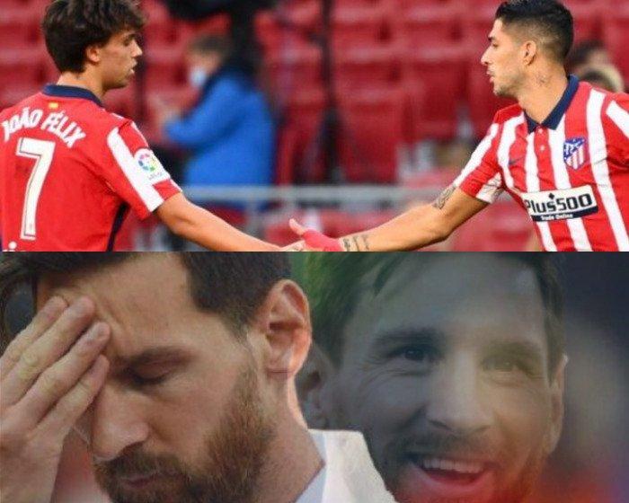 La reaccion de MESSI tras el DOBLETE de Luis Suarez